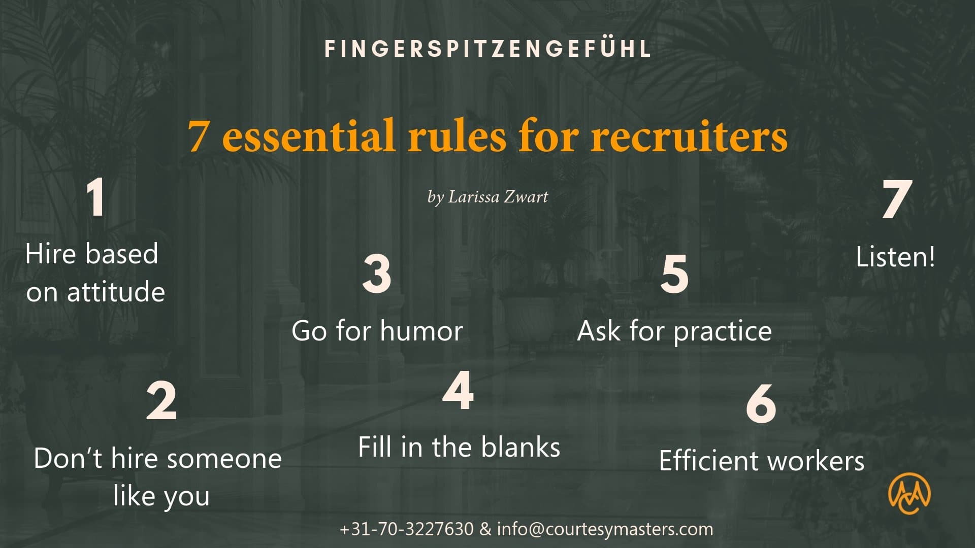 Rules for recruiters in hospitality