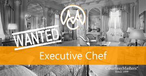 Job vacancy Executive Chef via CourtesyMasters